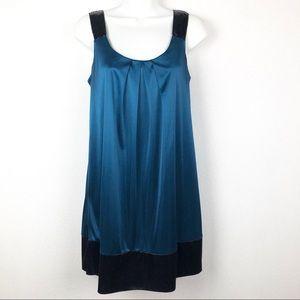 Blue Satin Mini Dress with Black Sequin Straps S